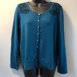 Jackin Smith Blue button down sweater size L
